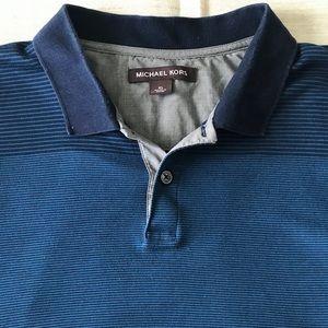 Michael Kors Blue striped polo Size XL
